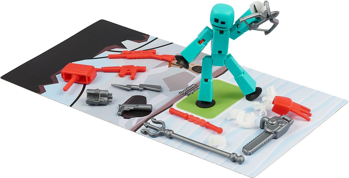 Фигурка с аксессуарами Stikbot Оружие, цвет: бирюзовый, красный, серый