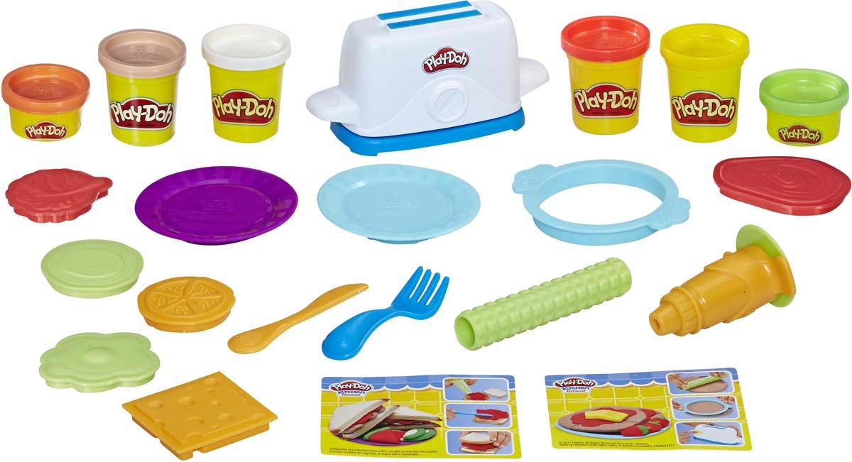 Набор для лепки Play-Doh Kitchen Creations Тостер, E0039EU4, 20 предметов набор для рисования play doh необычное яйцо cpdo062