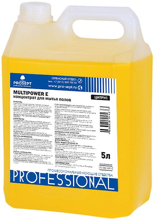 Концентрат для мытья полов Prosept Multipower E Citrus, c ароматом цитруса, 5 л концентрат для мытья полов и стен prosept multipower полевые цветы 800 мл