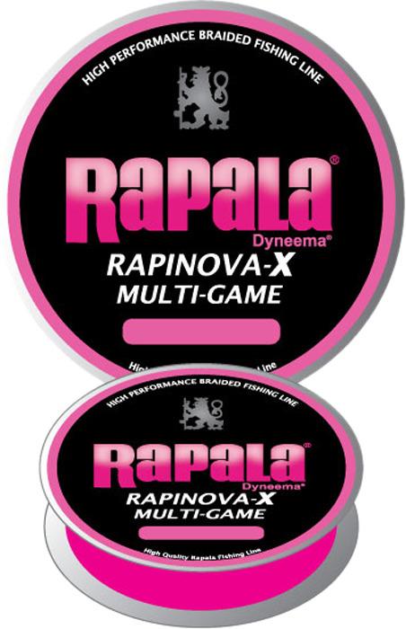 Леска плетеная Sufix Rapala Rapinova-X Multi Game, цвет: розовый, длина 150 м, нагрузка 9,4 кгRLX150M08PKRAPALA RAPINOVA-X MULTI GAME PINK. Высококачественный японский PE материал. Специальный процесс покрытия обеспечивает высокую износостойкость, прочность, удобство в использовании, и исключает спутывание лески. Идеально гладкая поверхность гарантирует дальний заброс. Специально разработанный процесс покрытия обеспечивает идеальное скольжение по кольцам и гарантирует идеальный заброс при этом плетенка остается эластичной и простой в использование. Ультра высокая чувствительность передаст даже самую осторожную поклевку. особо тонкие диаметры шнуров Rapinova X будут востребованы спортсменами и любителями ловли прудовой форелина на снасти ультралёгкого класса.