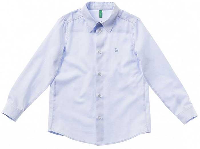 Рубашка для мальчика United Colors of Benetton, цвет: голубой. 5DGX5Q390_904. Размер 1405DGX5Q390_904