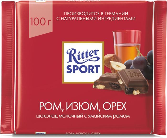 Шоколад молочный Ritter Sport Ром, Орех, Изюм, 100 г ritter sport лесной орех шоколад молочный с обжаренным орехом лещины 100 г