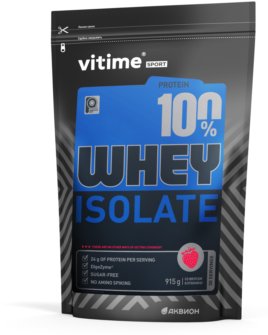 Протеин Vitime Isolate Protein, клубника, 915 г