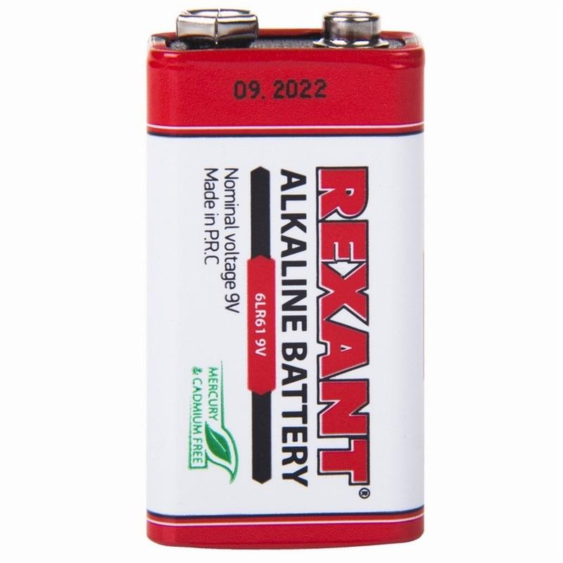 Батарейка алкалиновая Rexant, тип 6LR61, 1 шт батарейка rexant тип lr55 ag8 lr1120 g8 191 gp91a 391 sr1120w 10 шт