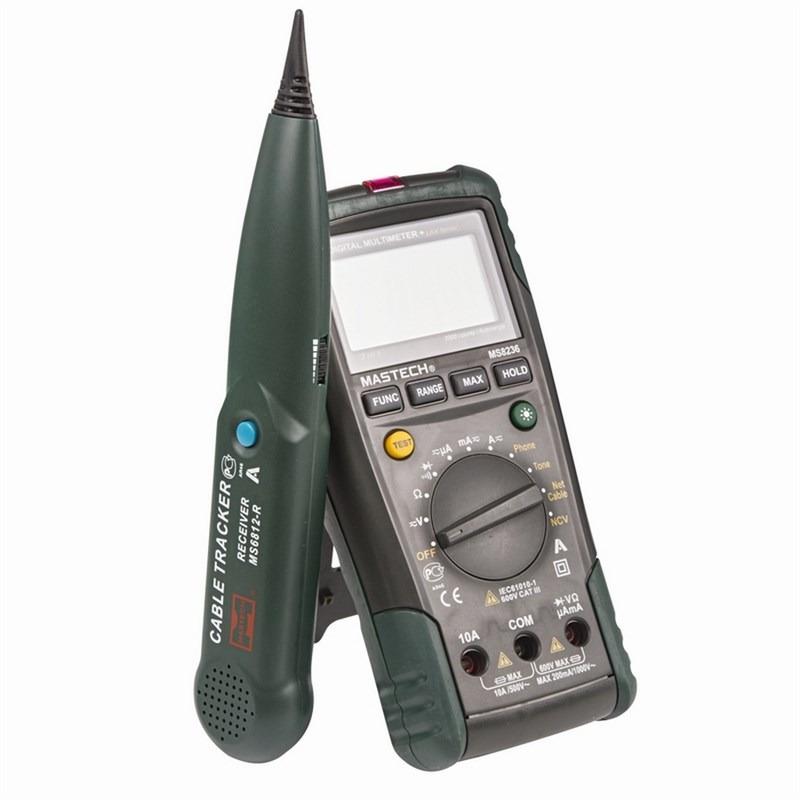 Мультиметр-трассоискатель профессиональный Mastech MS823613-1223Мультиметр - трассоискатель MASTECH - это уникальный прибор, сочетающий в себе функции цифрового мультиметра и кабельного тестера. В случае использования прибора как цифрового мультиметра он способен измерять постоянное и переменное напряжение до 600 Вольт, постоянный и переменный ток до 10 ампер, сопротивление до 20 Мегаом, а так же проверять диоды и проверять цепи на целостность. Многопозиционный круговой переключатель служит для выбора единиц измерения и функций кабельного тестера. Измерительные провода подключаются к входным терминалам расположенным в нижней части корпуса. Кабельный тестер используется для идентификации и прозвонки жил внутри кабеля без удаления изоляции, а так же проверки работоспособности телефонной линии. Для этого к прибору через разъем, расположенный в торце прибора подключается специальный кабель из комплекта поставки. Он состоит из красного и черного провода с крокодилами и четырехжильного коннектора телефонной сети. Для идентификации тонового сигнала используется пробник из комплекта поставки. При обнаружении сигнала, он будет издавать звуковой сигнал. Так же с помощью прибора можно проверять сетевые LAN кабели. Для этого его нужно подключить одним концом к разъему в торце прибора, а другим в разъем расположенный в нижней части прибора. При этом разъем расположенный в нижней части прибора необходимо открыть, сняв защитную крышку. Результат теста будет виден в нижней части дисплея. Для обеспечения безопасных измерений прибор снабжен функцией бескон...