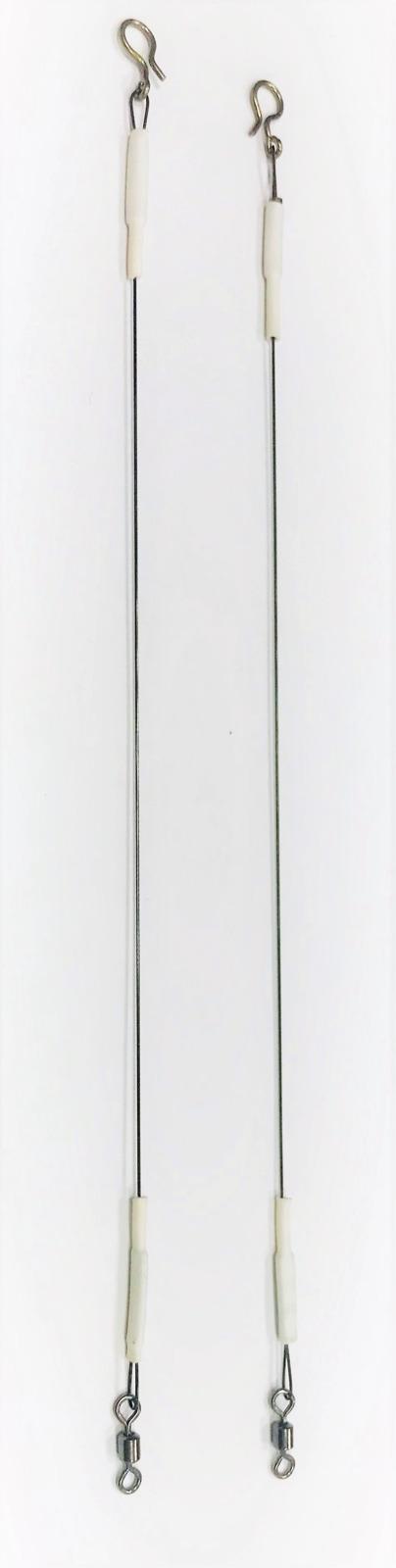Поводки титановые AGP, для нахлыста и балансиров, модификация с вертлюгом, длина 12 см, нагрузка 5 кг, 2 шт