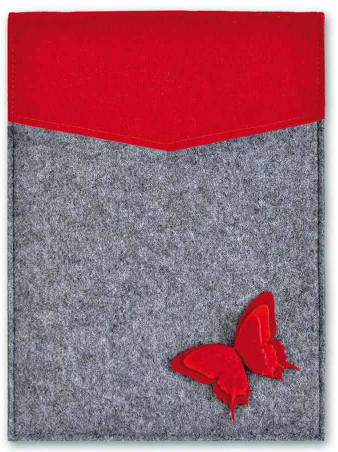 Папка для документов Феникс+ Бабочки. на кнопке, цвет: красный, серый46126Размер 28 x 22 см. Цвет: красный. Отделка: многоуровневая аппликация из фетра. Материал корпуса: фетр синтетический. Количество отделений: 1. Тип застежки: на кнопке.