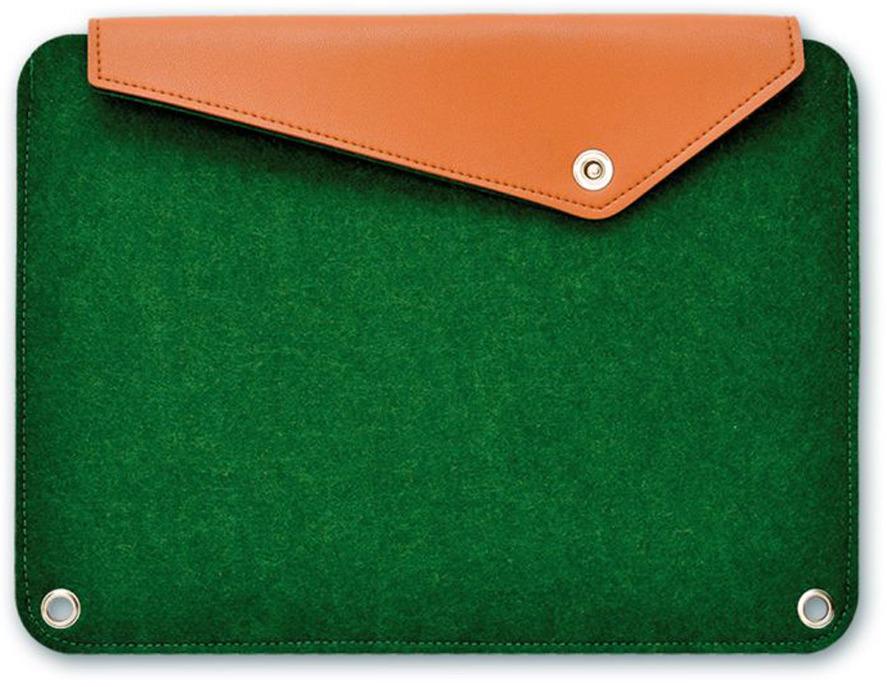 Папка для документов Феникс+, А4+, на кнопке, цвет: зеленый, оранжевый46382Пол универсальный. Размер 36 x 26 см. Формат: А4+. Цвет: темно-зеленый. Материал корпуса: фетр синтетический. Количество отделений: 1. Тип застежки: кнопка.