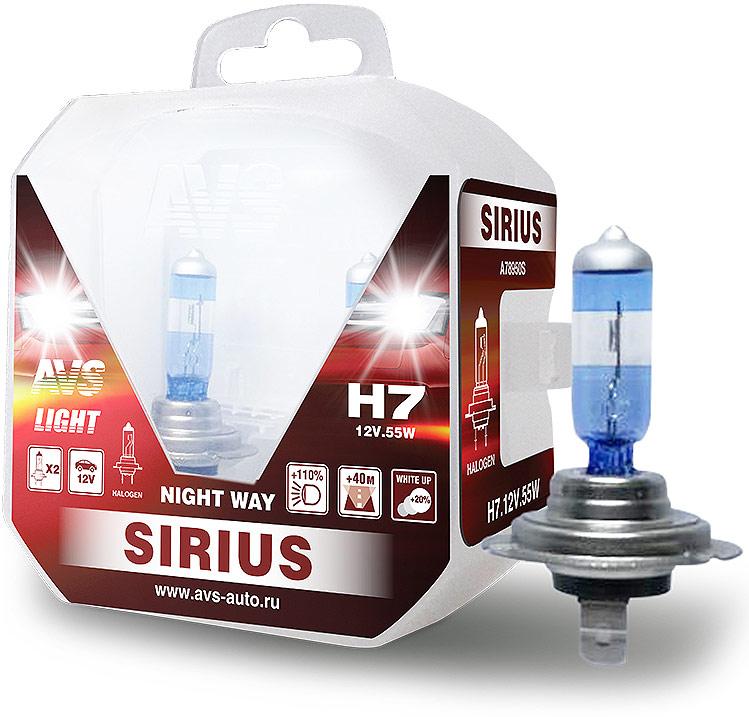 Автолампа галогенная AVS Sirius/Night Way/ PB H7.12V.55W, 2 штA78950SУсовершенствованные яркие лампы AVS SIRIUS/NIGHT WAY/- улучшенные параметры яркости света, светового конуса и цветовой температуры (3700 К). Автолампы с повышенной светоотдачей – на 110% ярче стандартных ламп и увеличенное расстояние светового пучка. Благодаря улучшенным характеристикам, дорогу лучше видно и опасные ситуации распознаются раньше. Лампы AVS SIRIUS, делают движение безопасней. Целевая группа-категория автовладельцев: Водители, проводящие много времени за рулем и ответственно относящиеся к безопасности на дороге. Рекомендуем!