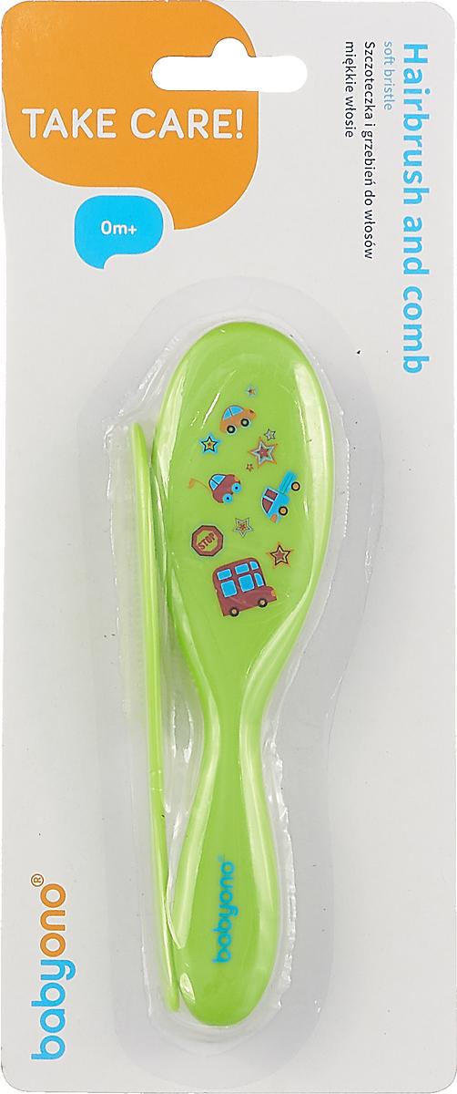 Набор детский BabyOno Расческа и щетка для волос, цвет: салатовый