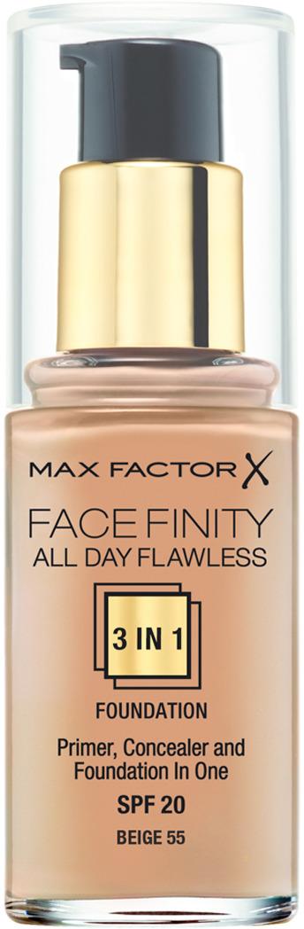 Max Factor Тональная основа 3в1 Facefinity All Day Flawless, SPF 20, тон №55 (beige), 30 мл тональная основа facefinity all day flawless 3in1 max factor лицо
