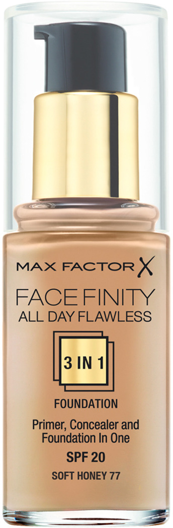 Max Factor Тональная основа 3в1, SPF 20 Facefinity All Day Flawless, тон №77 (soft honey), 30 мл тональная основа facefinity all day flawless 3in1 max factor лицо
