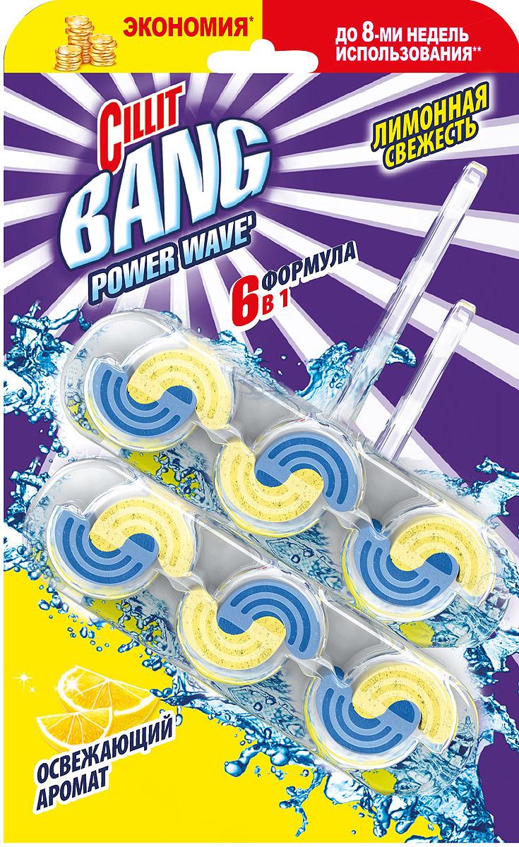 Туалетный блок Cillit Bang Power Waves. Лимонная свежесть, 2 x 39 г туалетный блок cillit bang power wave 6 в 1 твердый тропические цветы
