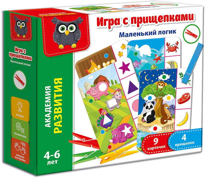 Обучающая игра Vladi Toys Маленький логик, с прищепками обучающая игра vladi toys шустрые овцы