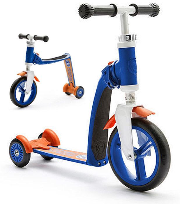 Самокат-беговел трансформер трехколесный Scoot&Ride Highway Baby Plus, цвет: синий, оранжевый