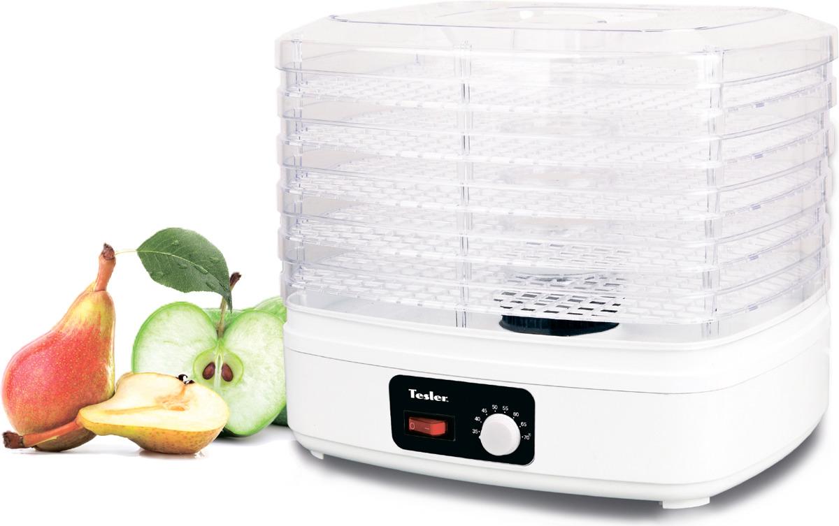Дегидратор Tesler FD-511TESLER FD-511Сушилка для овощей и фруктов Tesler снабжена пятью пластиковыми регулируемыми по высоте поддонами и вентилятором, который равномерно разгоняет теплый воздух, что обеспечивает оптимальную обработку продуктов. Нескользящее основание помогает ей сохранять устойчивое положение даже при установке на гладкой поверхности.