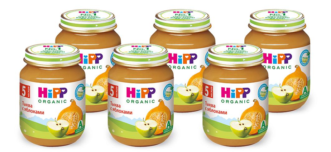 Hipp пюре тыква с яблоками, с 5 месяцев, 6 шт по 125 г
