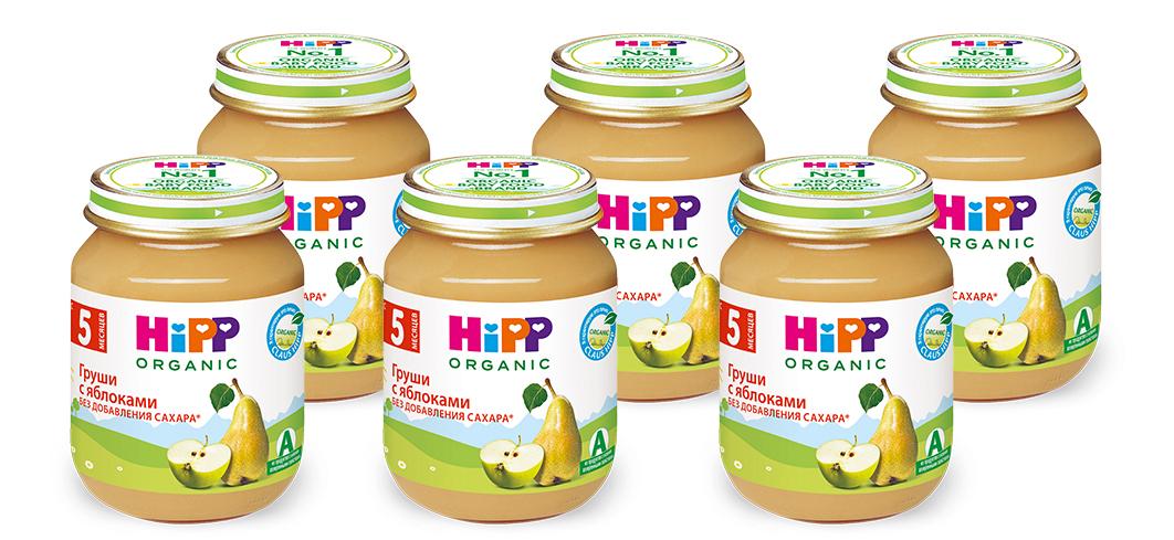 Hipp пюре яблоки с грушей, с 5 месяцев, 6 шт по 125 г