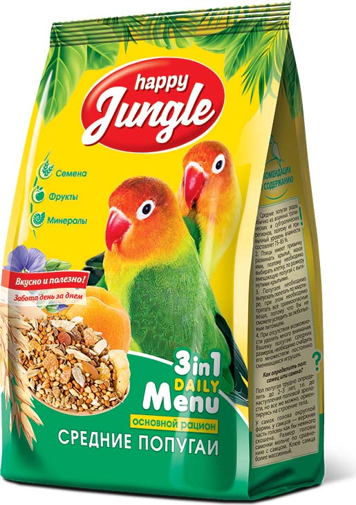 Корм сухой Happy Jungle для средних попугаев, 500 г