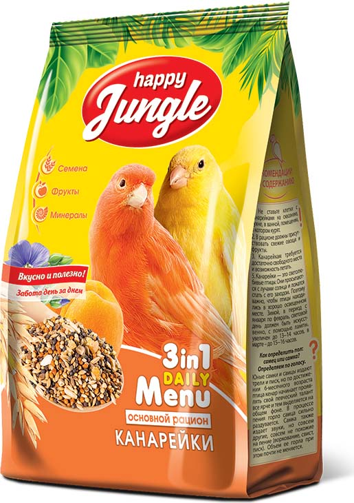 Корм сухой Happy Jungle для канареек, 500 г