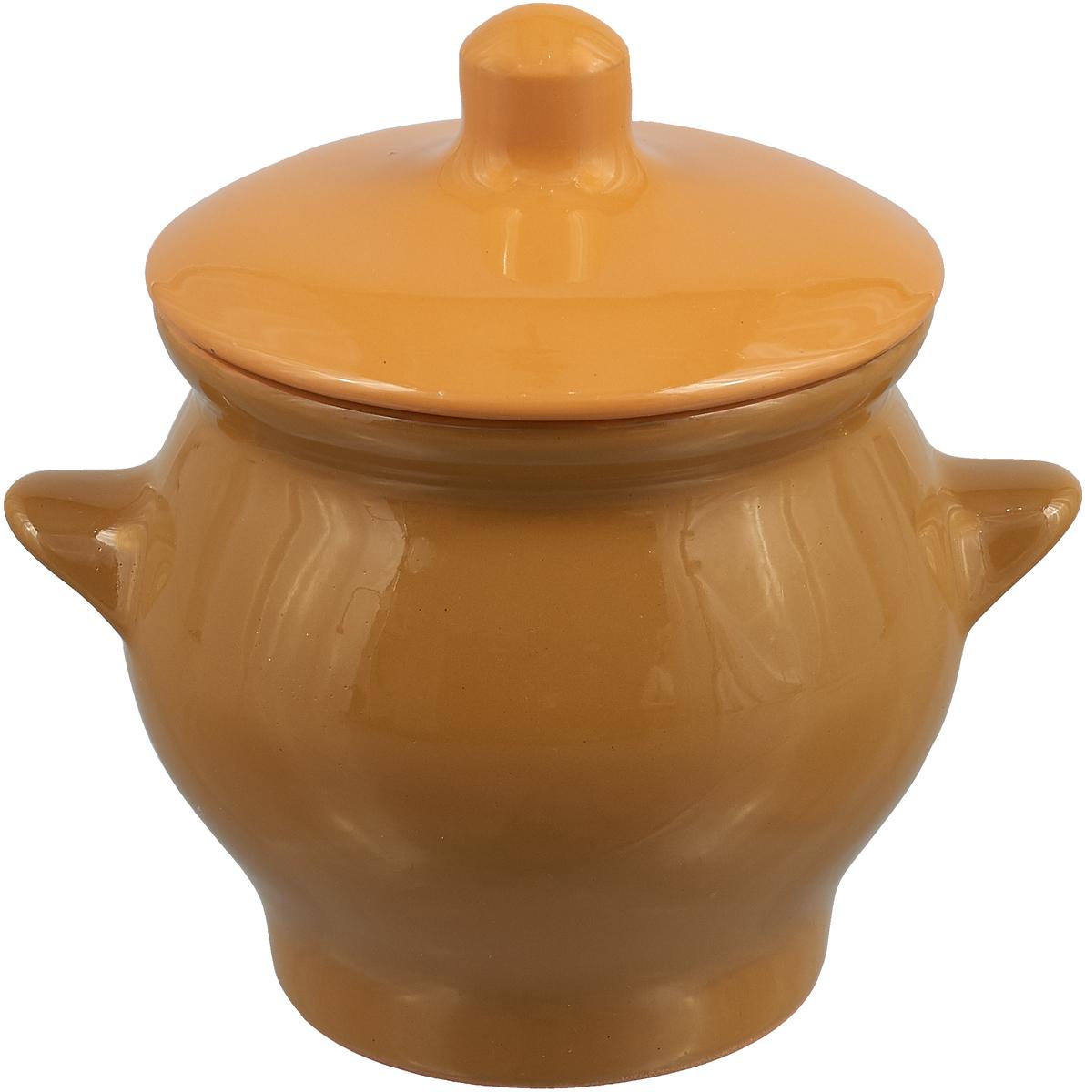горшок для жаркого борисовская керамика лакомка цвет рисунка голубой 0 5 л Горшок для жаркого Борисовская керамика Радуга, цвет: горчичный, оранжевый, 650 мл