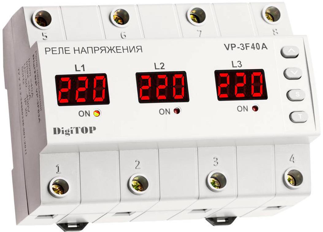 Реле напряжения DigiTOP Vp-3F40A, цвет: белый, 12,5 х 9 см цена