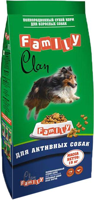Корм сухой Clan Family, для взрослых собак активных пород, с курицей, 15 кг