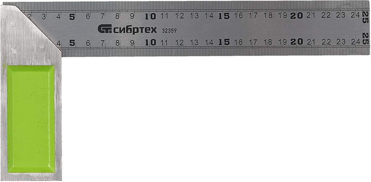 Угольник Сибртех, металлический, цвет: серебристый, салатовый, 25 см