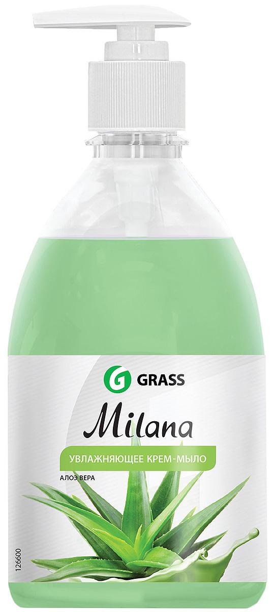 Жидкое крем-мыло Grass Milana. Алоэ вера, с дозатором, 500 мл жидкое крем мыло grass milana жемчужное с дозатором 500 мл