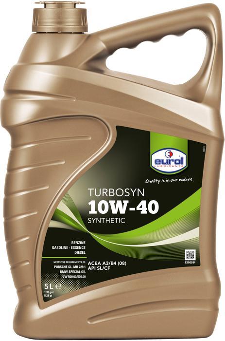 Масло моторное Eurol Turbosyn 10W-40 SL/CF, полусинтетическое, 5 л моторное масло mobil ultra 10w 40 4 л полусинтетическое