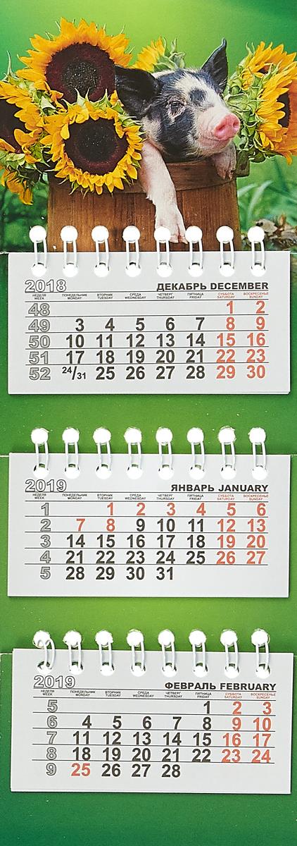 Календарь на спирали микро-трио на 2019 год. Свинка в подсолнухах календарь на магните отрывной кр33 на 2019 год путин на черном [кр33 19015]
