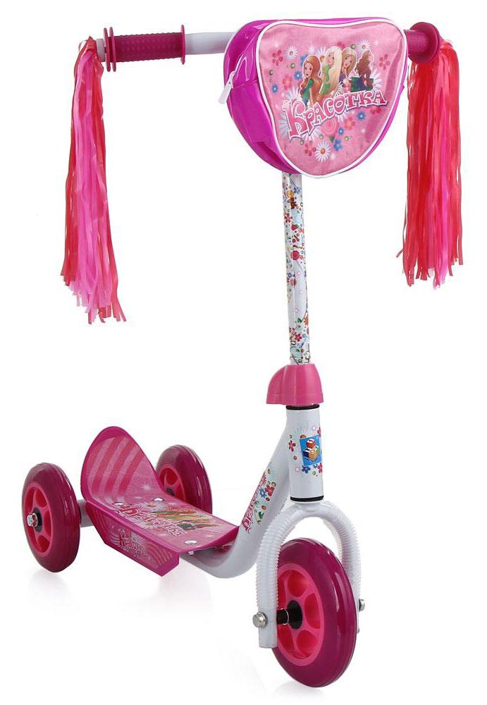 1TOY Самокат детский трехколесный Красотка цвет розовый белый 1toy самокат детский трехколесный peppa