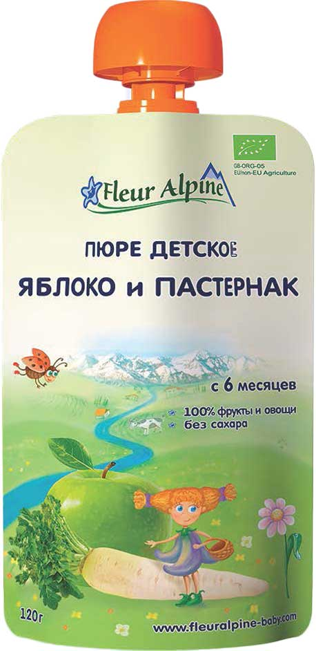 Fleur Alpine Organic пюре яблоко, пастернак, с 6 месяцев, 120 г