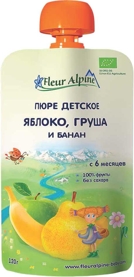 Fleur Alpine Organic пюре яблоко, груша, банан, с 6 месяцев, 120 г