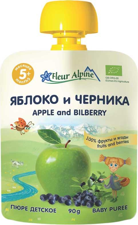 Флёр Альпин Органик пюре яблоко-черника, с 5 месяцев, 90 г