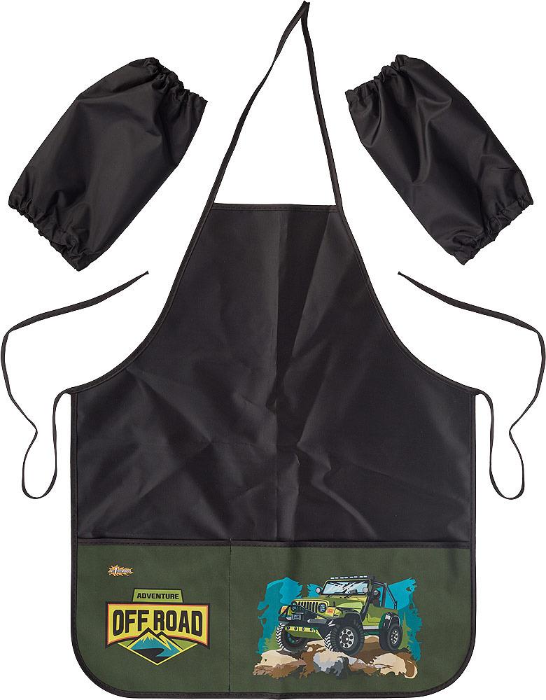 Фартук детский №1 School Off Road, с нарукавниками и 2 карманами, цвет: черный спортбэби фартук для детского творчества с нарукавниками цвет синий возраст 3 8 лет