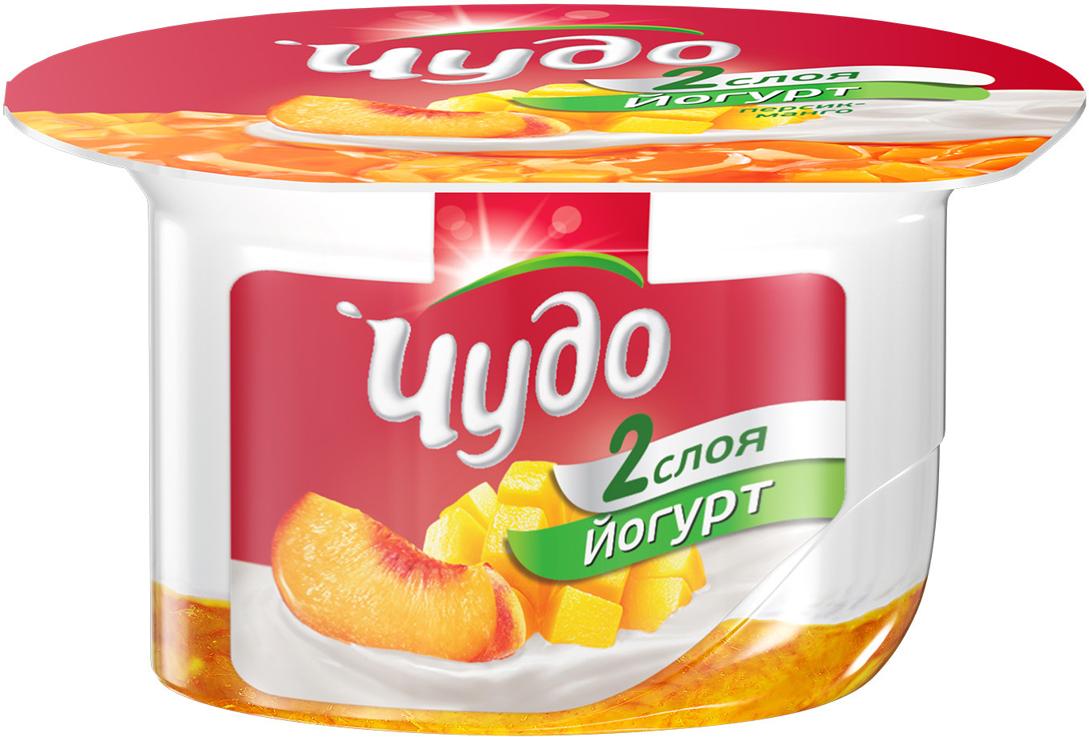 Йогурт с джемом на дне персик-манго 2,5% Чудо, 125 г