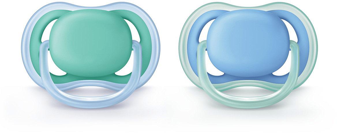 Пустышка силиконовая Philips Avent Ultra Air для мальчиков от 6 до 18 месяцев, 2 шт. SCF244/22 пустышка силиконовая philips avent ultra air для мальчиков от 0 до 6 месяцев 2 шт scf244 20