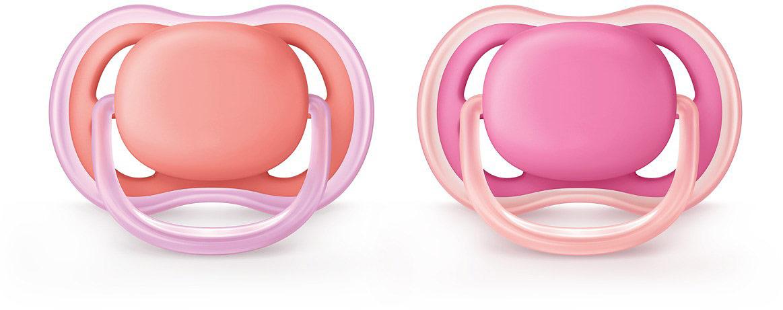 Пустышка силиконовая Philips Avent Ultra Air для девочек от 6 до 18 месяцев, 2 шт. SCF245/22