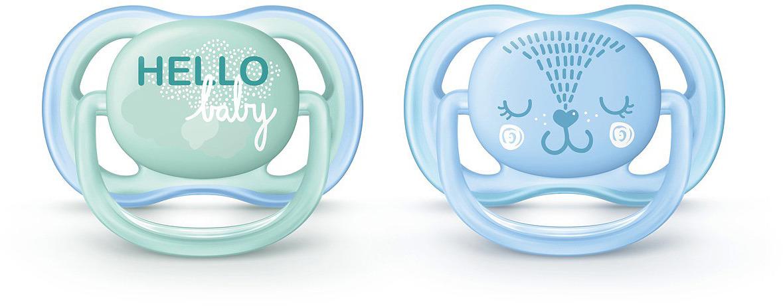 Пустышка силиконовая Philips Avent Ultra Air с рисунком, для мальчиков от 0 до 6 месяцев, 2 шт. SCF342/20 пустышка philips scf213 20