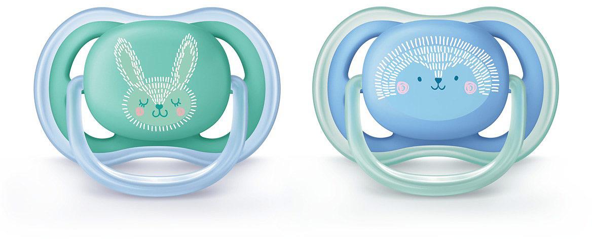 Пустышка силиконовая Philips Avent Ultra Air с рисунком для мальчиков от 6 до 18 месяцев, 2 шт. SCF344/22 пустышка силиконовая philips avent ultra air для мальчиков от 0 до 6 месяцев 2 шт scf244 20