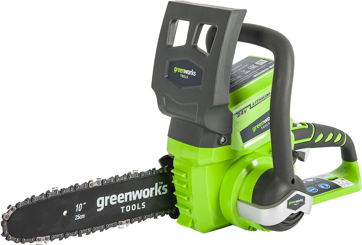 Пила цепная аккумуляторная Greenworks, без аккумулятра и зарядного устройства, 24V 2000007 пила циркулярная greenworks 24в