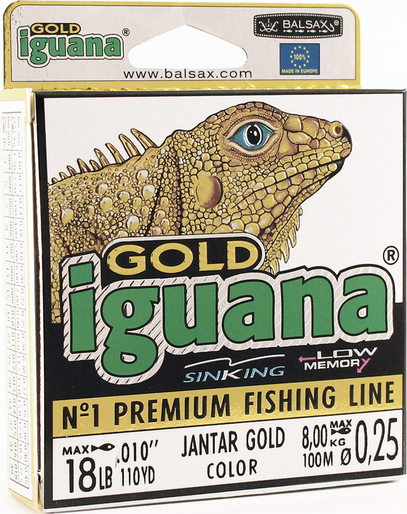 Леска Balsax Iguana Gold, 100 м, 0,25 мм, 8,0 кг