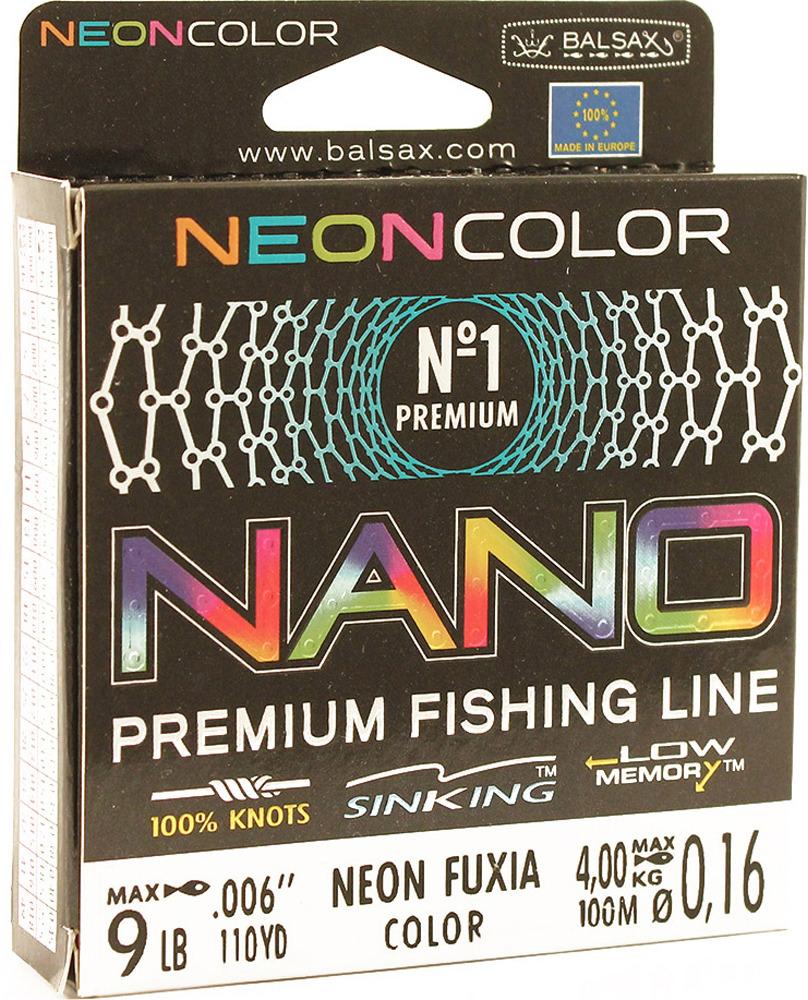 Леска Balsax Nano Neon Fuxia, 100 м, 0,16 мм, 4,0 кг леска balsax tarantula gold 100 м 0 32 мм 13 0 кг