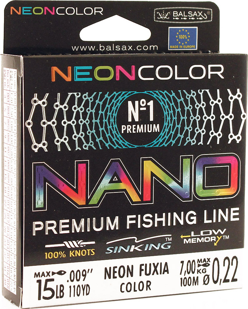 Леска Balsax Nano Neon Fuxia, 100 м, 0,22 мм, 7,0 кг
