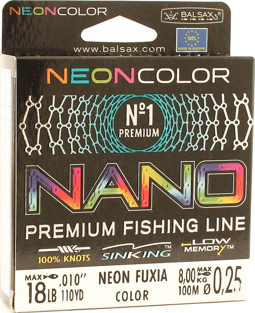 Леска Balsax Nano Neon Fuxia, 100 м, 0,25 мм, 8,0 кг