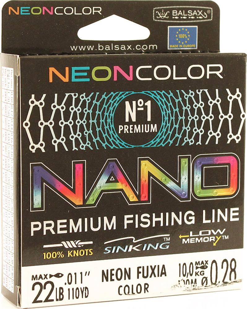 Леска Balsax Nano Neon Fuxia, 100 м, 0,28 мм, 10,0 кг