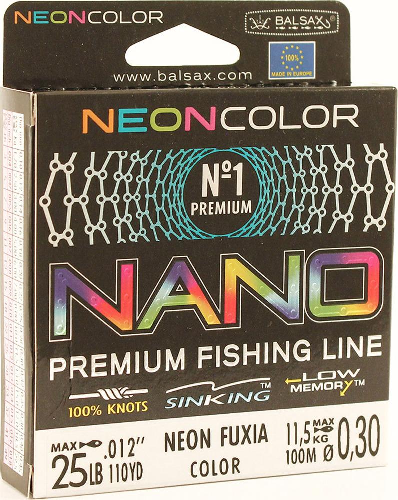 Леска Balsax Nano Neon Fuxia, 100 м, 0,30 мм, 11,5 кг