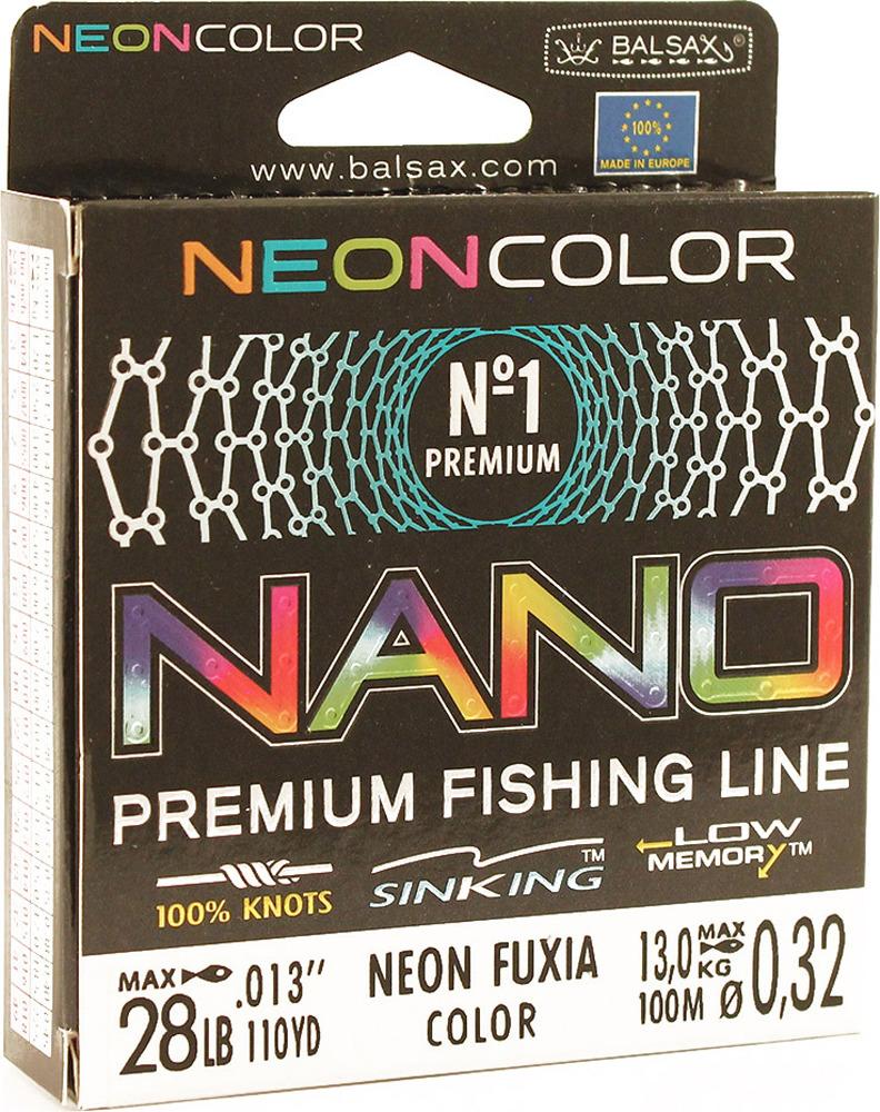 Леска Balsax Nano Neon Fuxia, 100 м, 0,32 мм, 13,0 кг