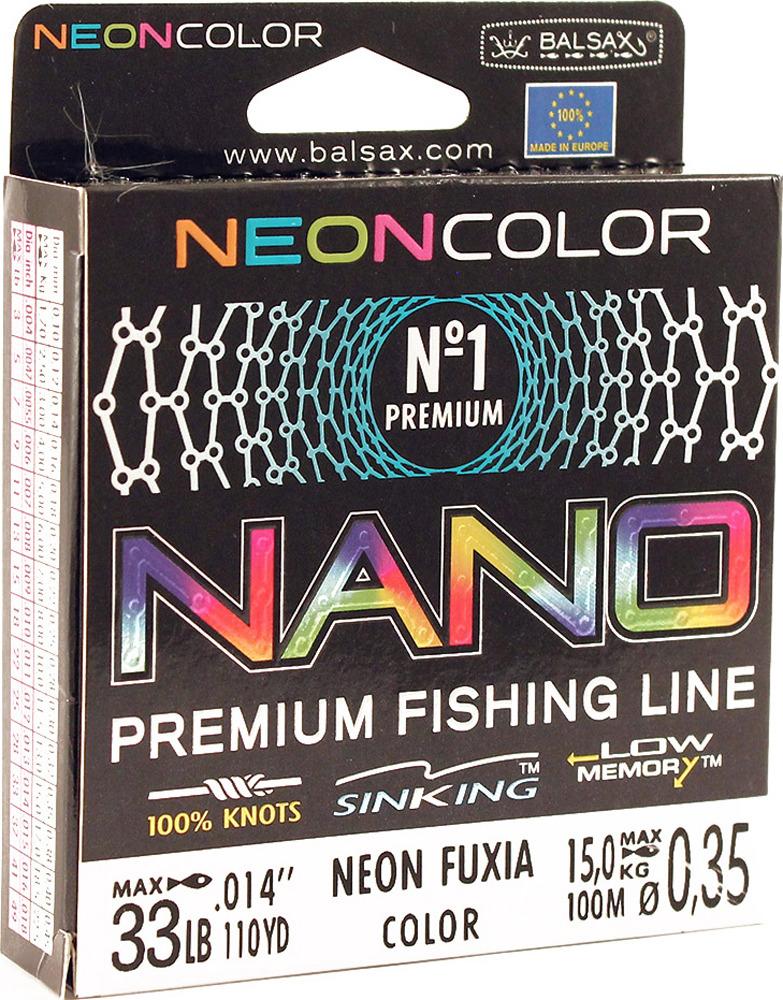 Леска Balsax Nano Neon Fuxia, 100 м, 0,35 мм, 15,0 кг леска balsax tarantula gold 100 м 0 32 мм 13 0 кг